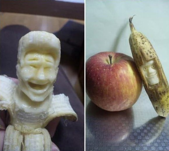 banana carving creative craft project funny faces 7