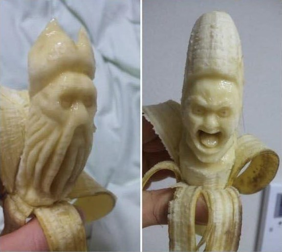 banana carving creative craft project funny faces 9