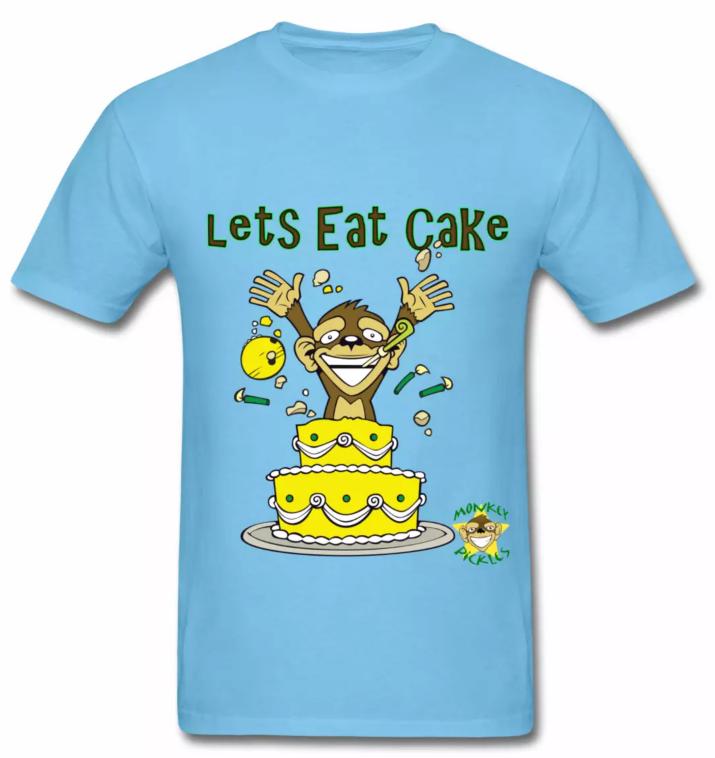 Monkey Pickles Let's Eat Cake T-Shirt, Monkey Pickles Gear, Monkey Pickles Spreadshirt, Official Monkey Pickles