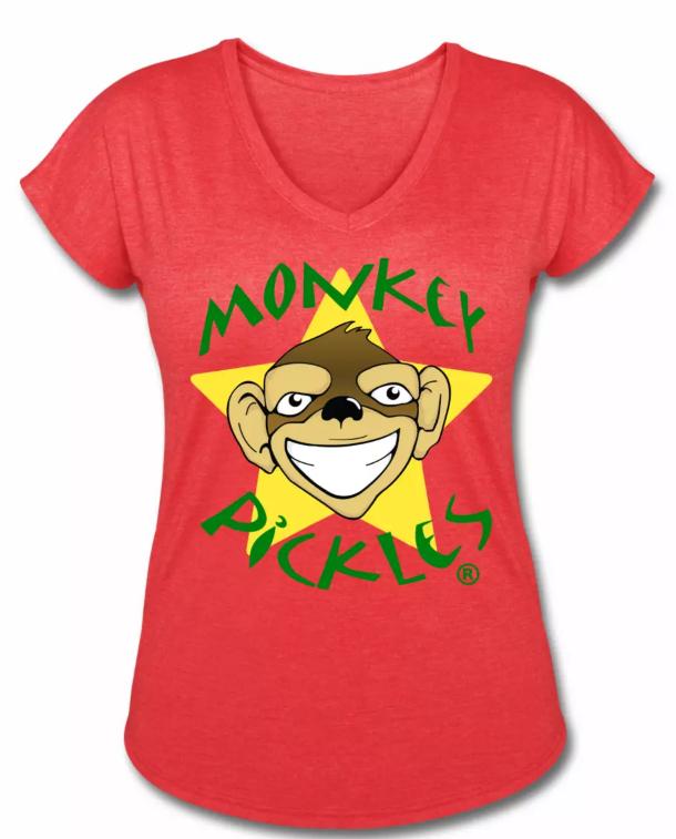 Monkey Pickles Gear, Monkey Pickles Spreadshirt, Official Monkey Pickles, Monkey Pickles Shirts, Monkey Pickles Women's Tri-Blend V-Neck T-Shirt,
