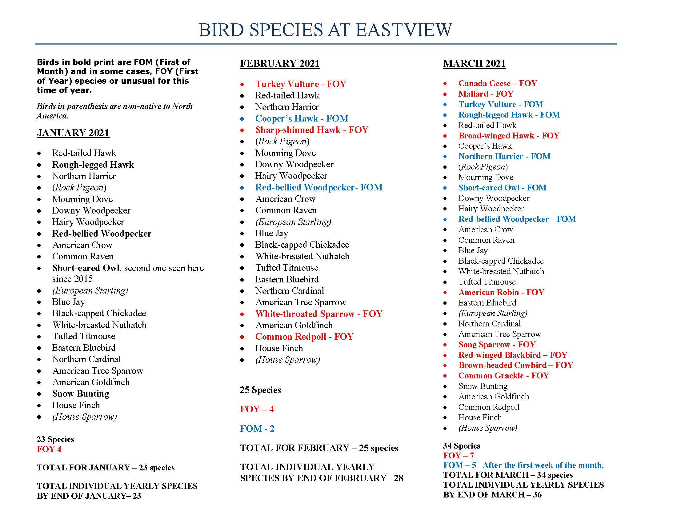 Bird Species at Eastview: Winter