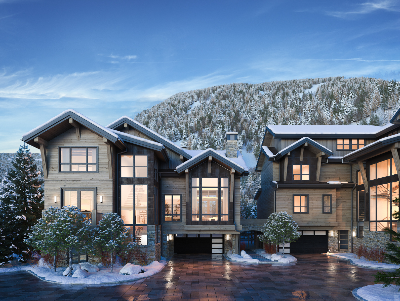 Exterior rendering of the villas showing winter weather