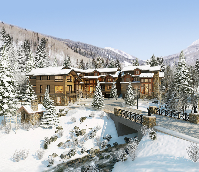 Exterior rendering of the Villas during Winter