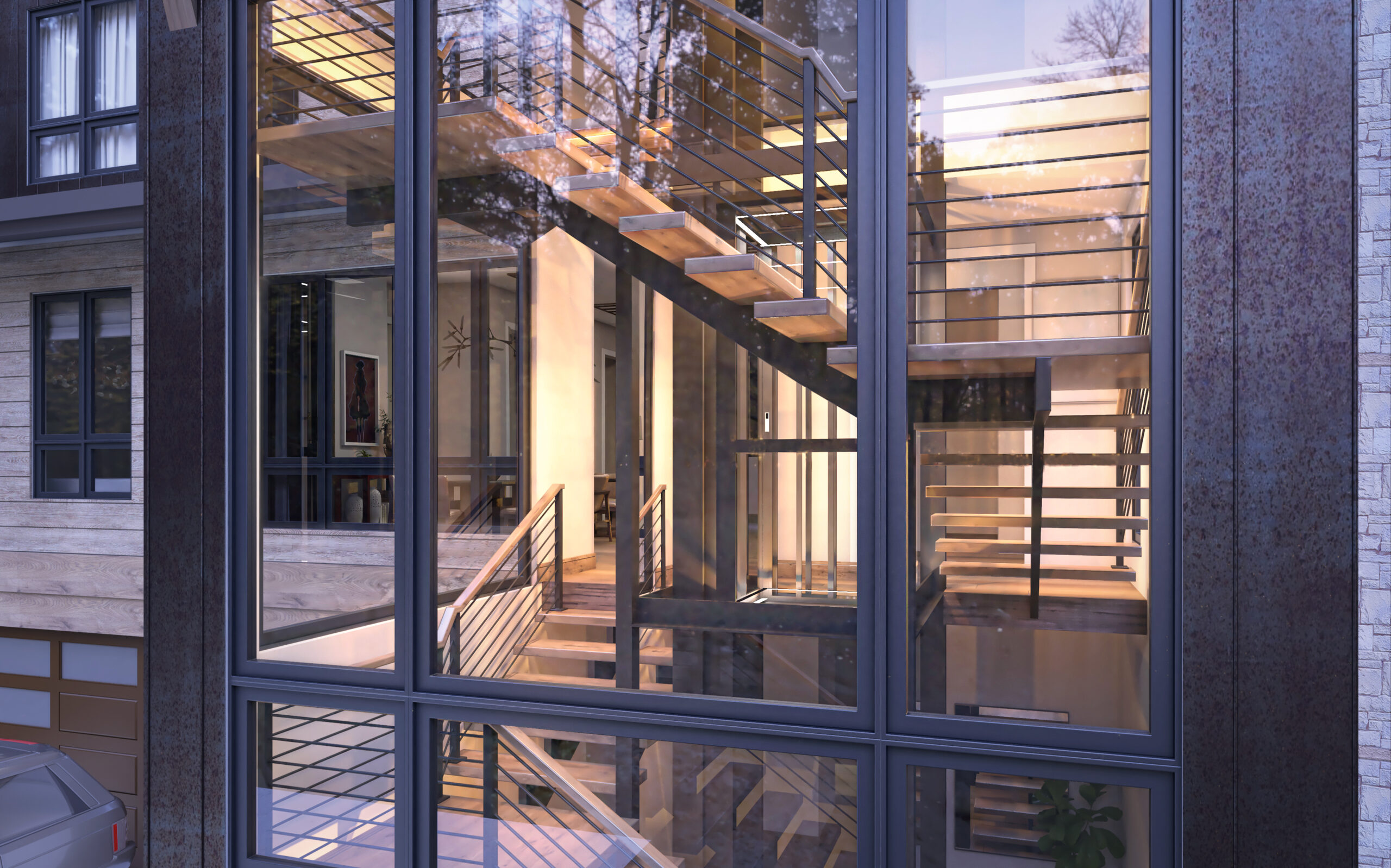 Exterior rendering of windows showing spiral staircase inside home