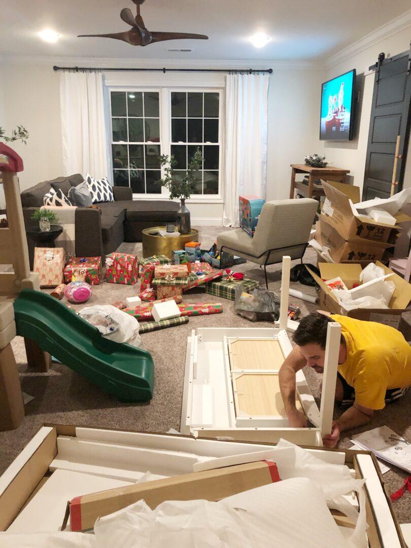 Christmas messy living room