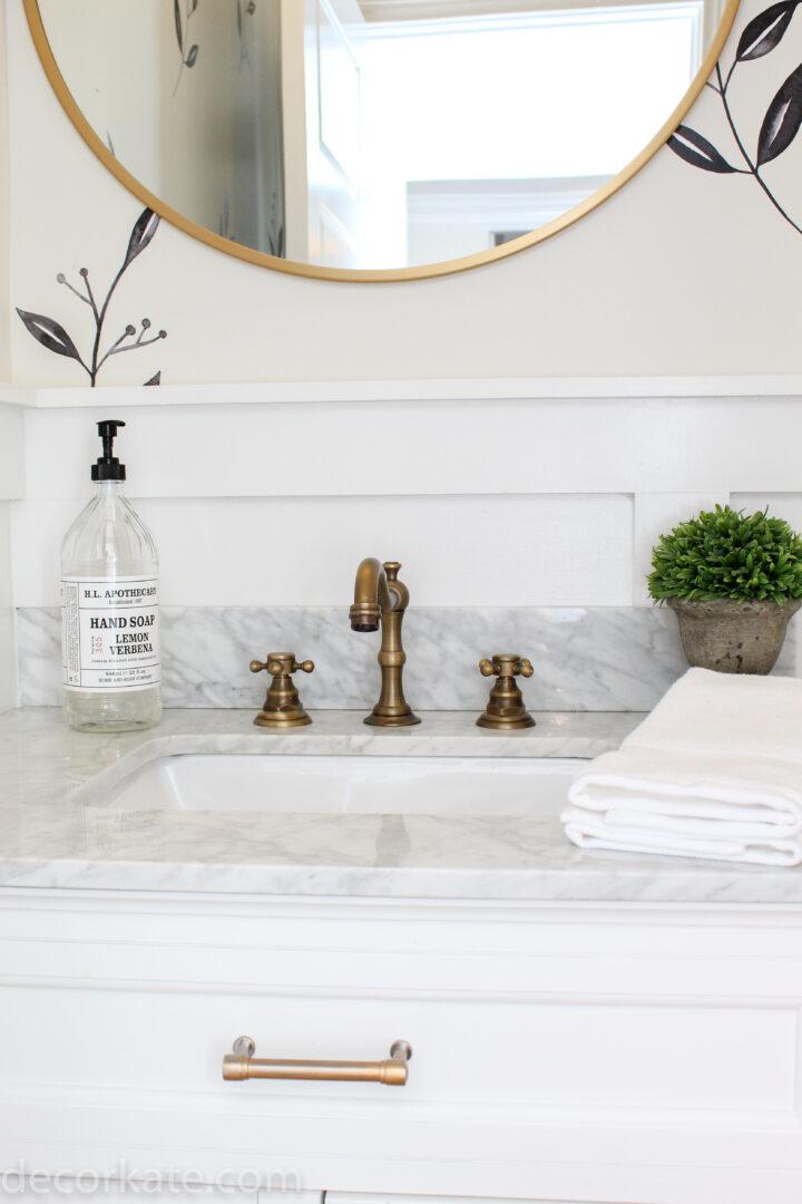 marble countertop in powder room