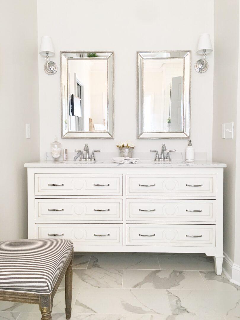 bathroom vanity double sink and mirrors