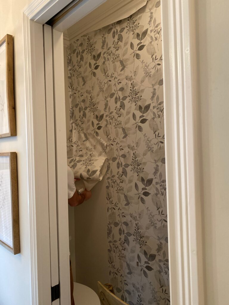 Process of installing peel and stick wallpaper