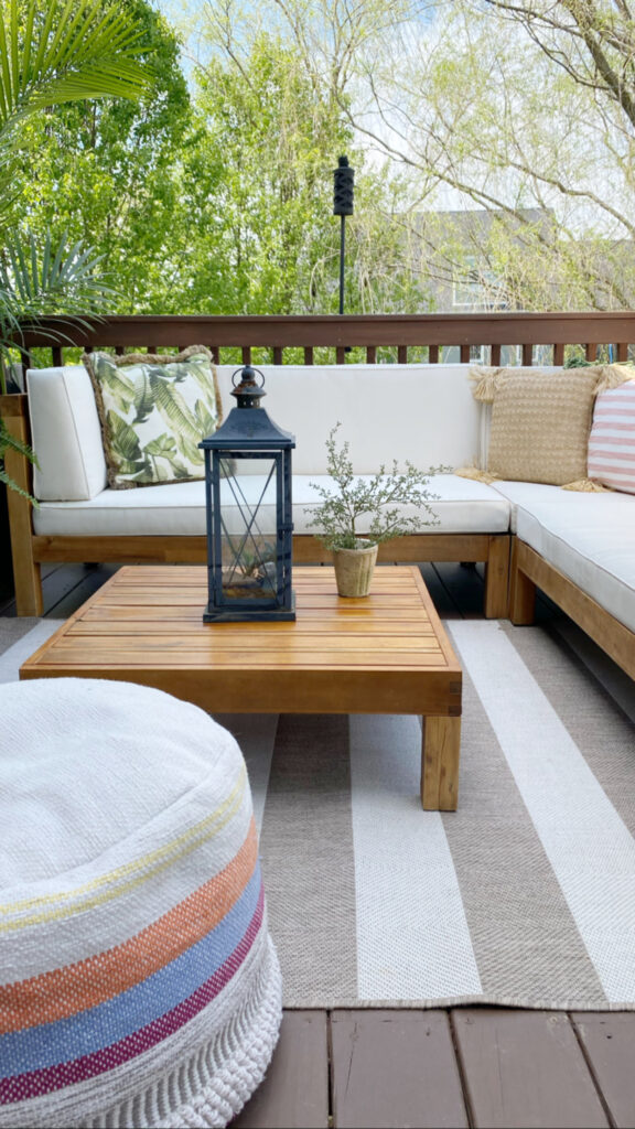 Patio furniture out on deck after I restained the deck and restored the furniture