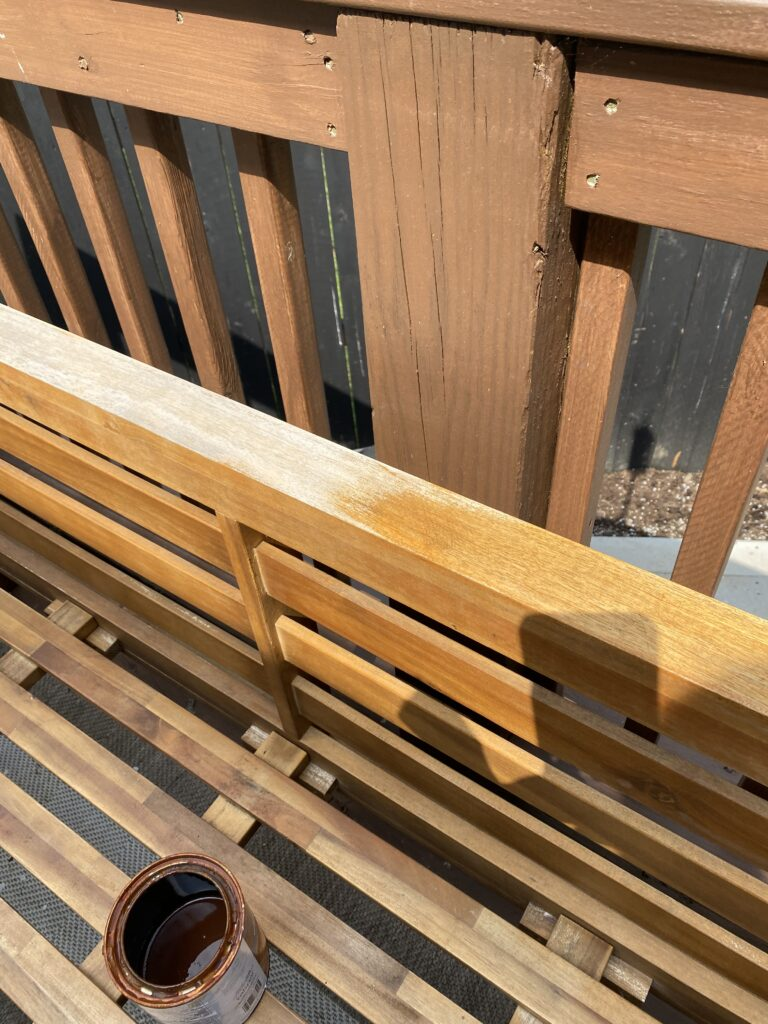 Sanding and staining of weathered outdoor patio furniture