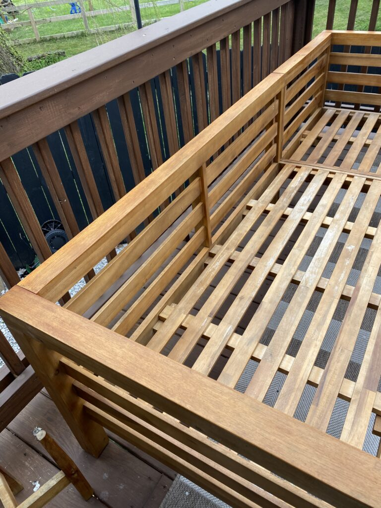 Restained wood furniture for outdoors