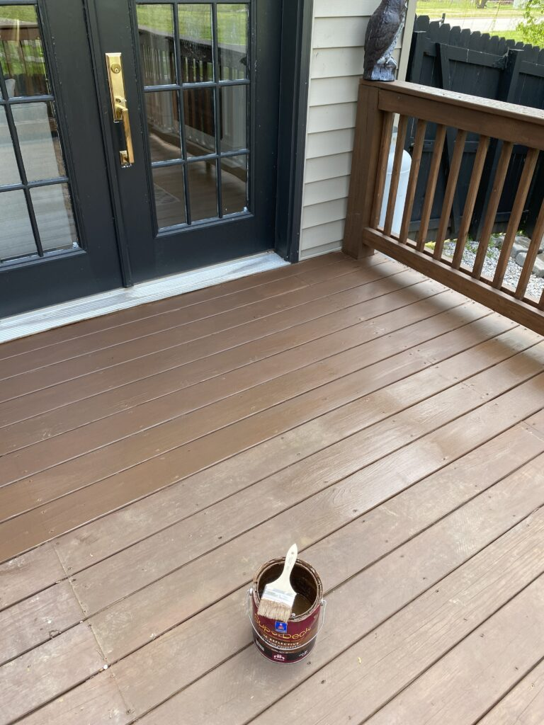 Restaining the deck  process Hawthorne from Sherwin Williams