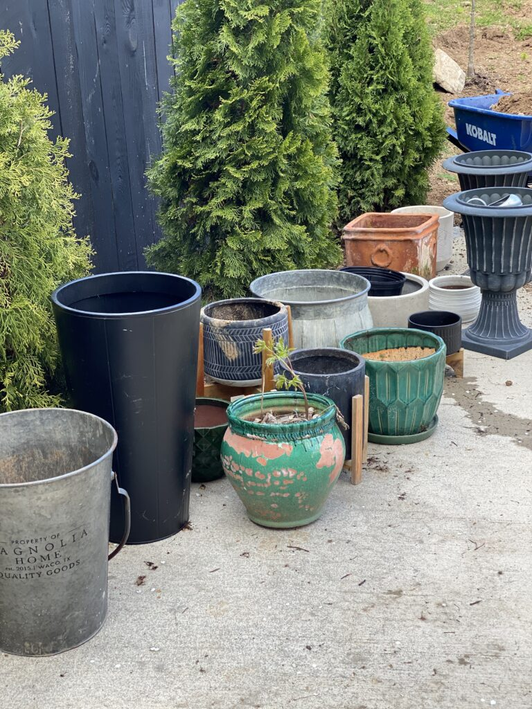 Outdoor pots ready for plants