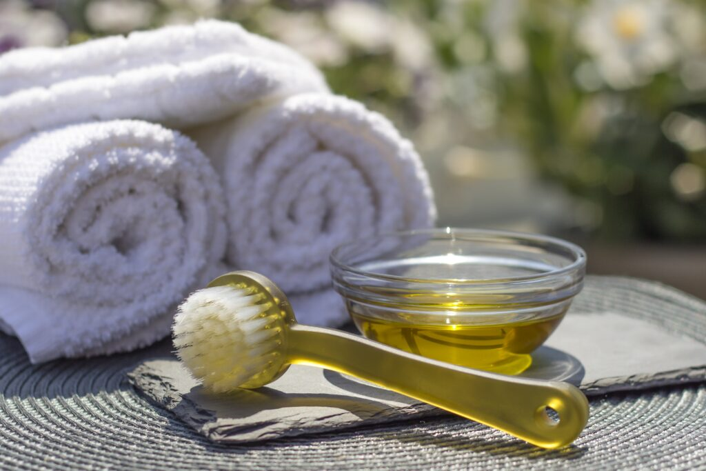 photo of towels and massage oil