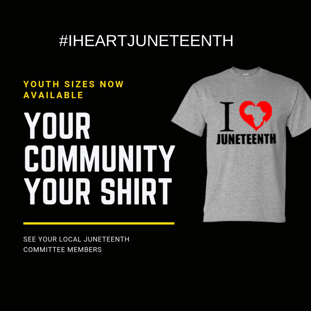Youth sizes now available. Purchase your community shirt. See your local Juneteenth Committee members for details #IHEARTJUNETEENTH