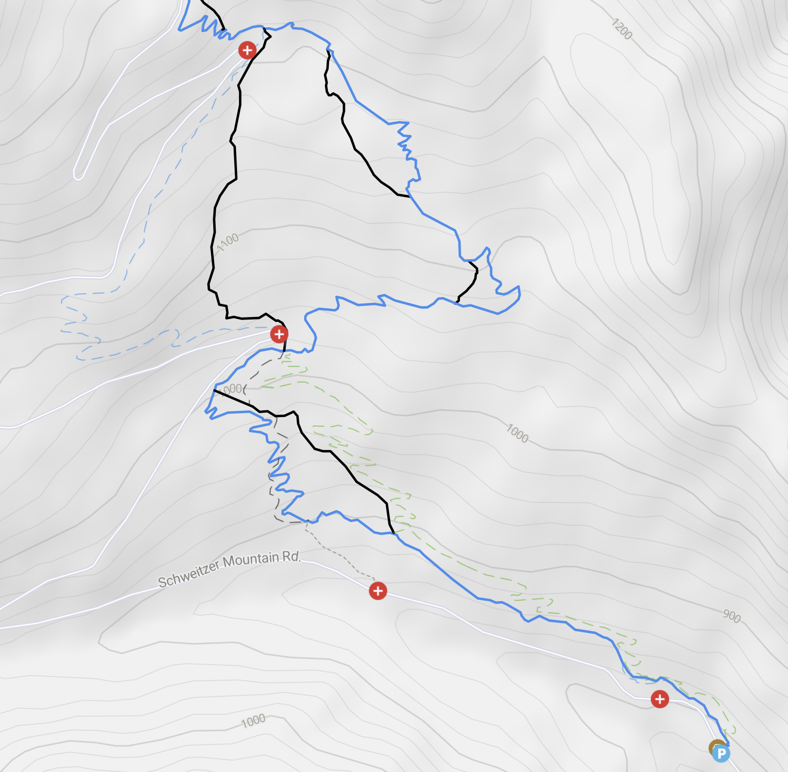 Existing (solid) and proposed (dashed) Lower Basin Trails