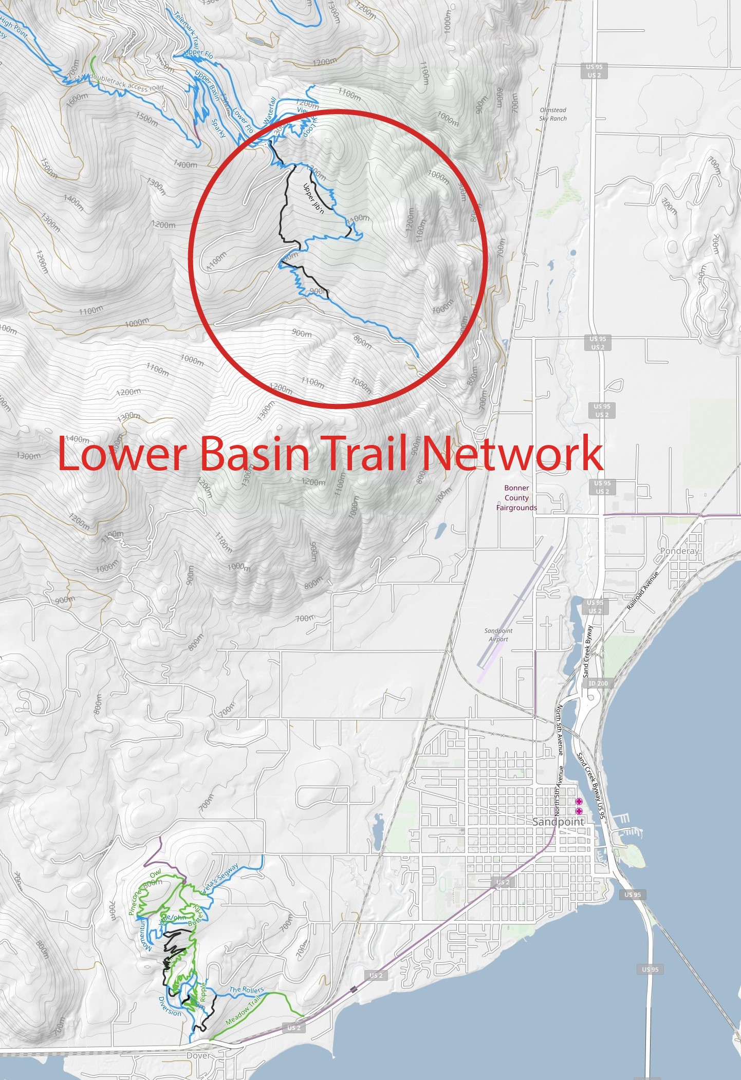 Lower Basin Trail Network lies 3 miles north of downtown Sandpoint