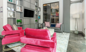Pink office furniture temporary housing