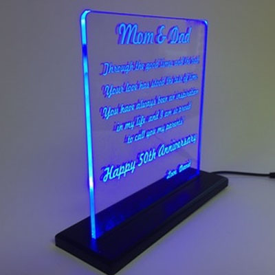 LED lit acrylic sign with laser etching
