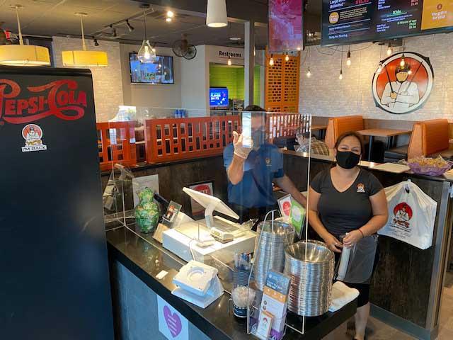 sneeze guard plexiglass shield restaurant
