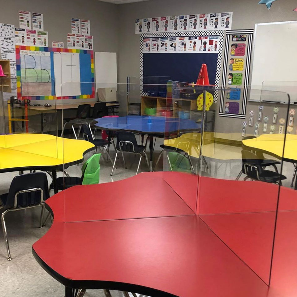 desk barrier for classrooms