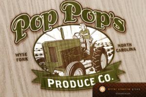 pop pops produce farm to table logo design nc