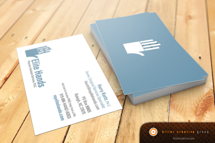 Elite Hands physician business card design raleigh nc