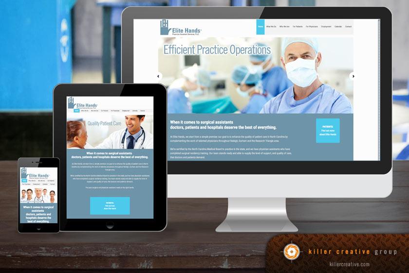Elite Hands physician website design raleigh nc