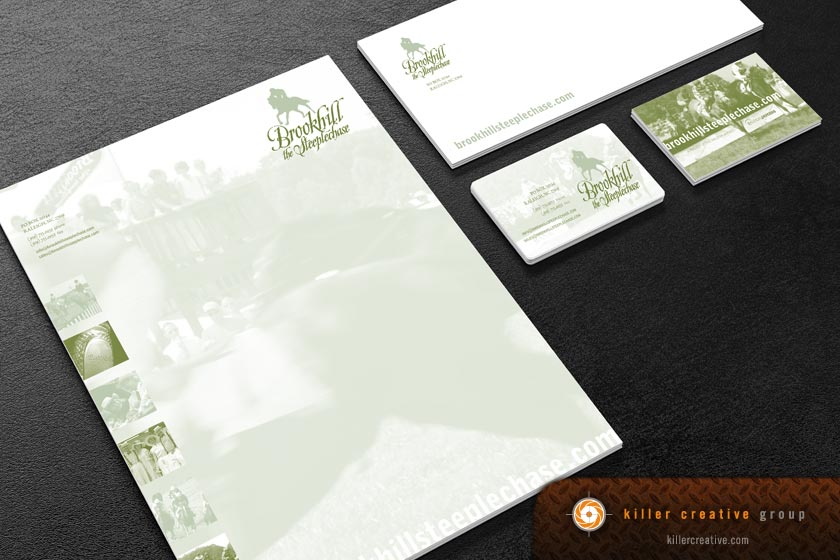 Brookhill Steeplechase stationery design letterhead business cards envelopes raleigh nc