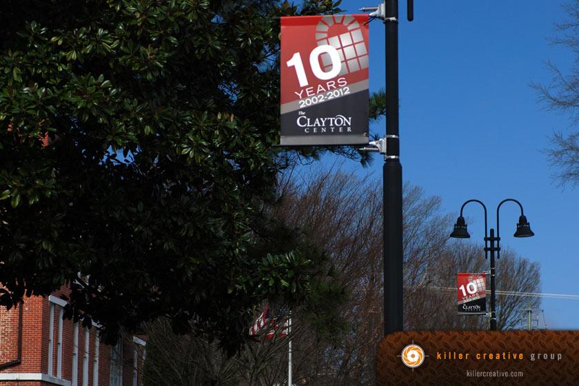 Clayton Center pole banner design raleigh clayton nc