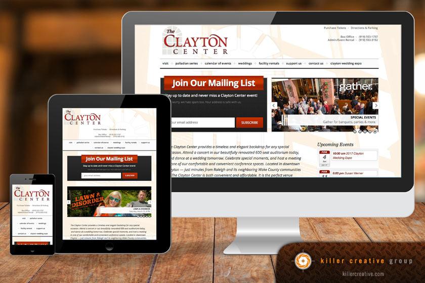 Clayton Performing Arts Center responsive website design raleigh nc