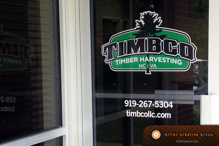 Timbco entrance door signage decal raleigh morrisville nc