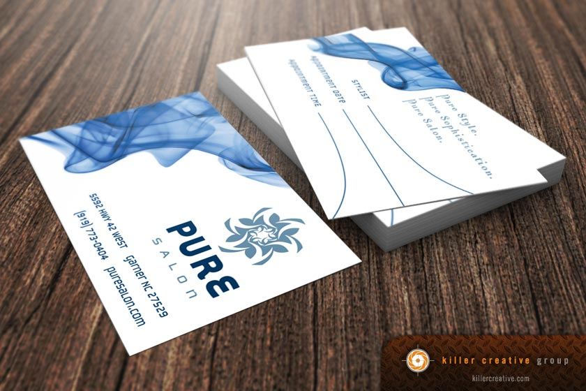 Pure Salon business cards design Raleigh NC