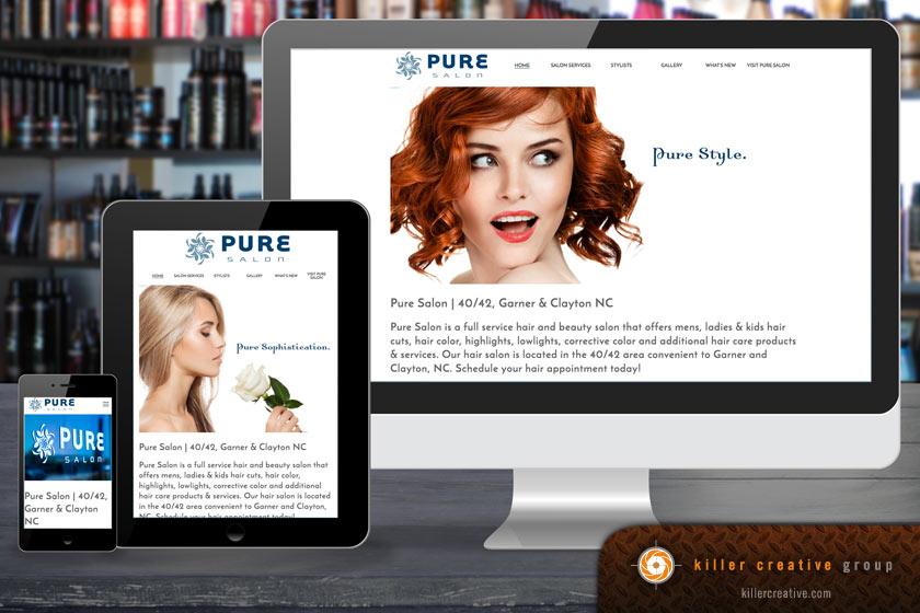 Pure Salon website design Raleigh Clayton NC