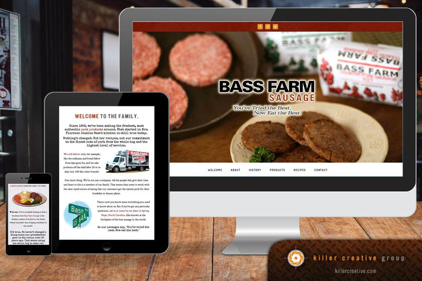 Bass Farm Sausage website graphic design in North Carolina
