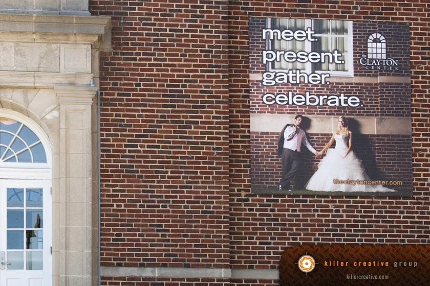 Clayton Center exterior banners design North Carolina
