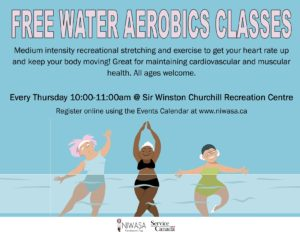 A flyer image of 3 women in bathing suits in various water aerobic poses