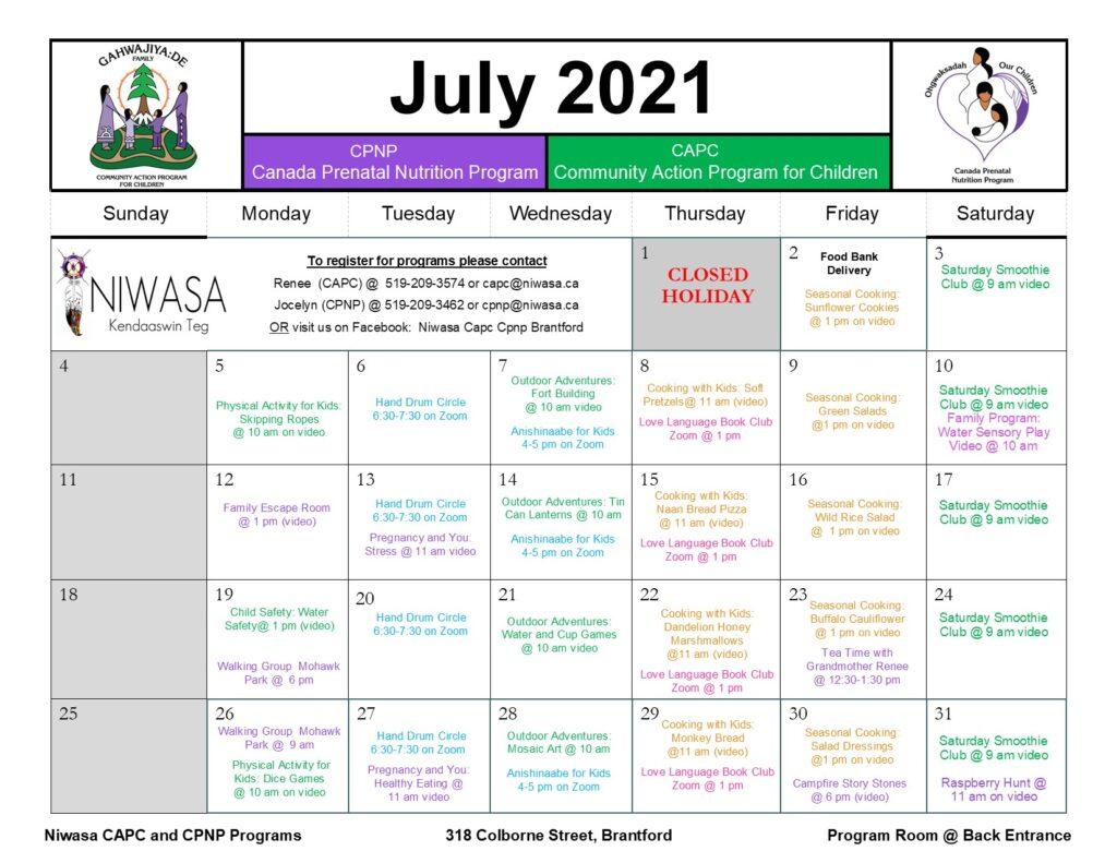 Brantford July 2021 Program Caledar