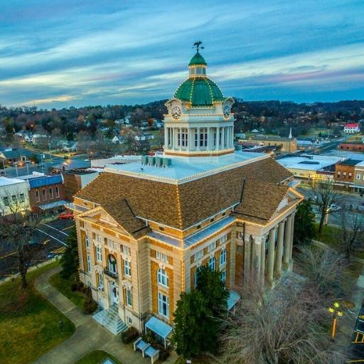 photo of aerial view of Historic Giles County Tennessee courthouse