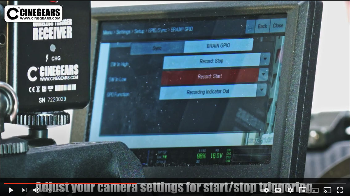 cinegears wireless trigger for Red DSMC 2 cameras