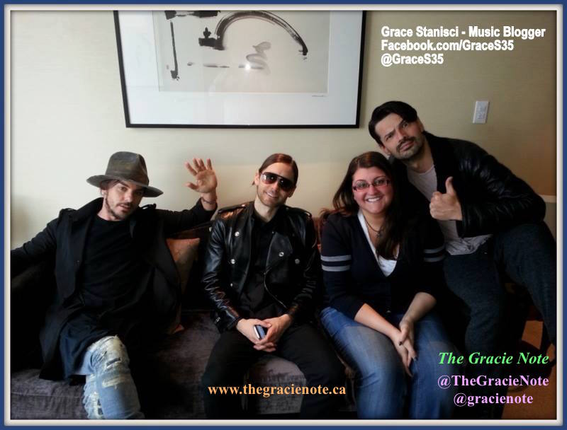 Gracie Stanisci (music writer) with Shannon Leto, Jared Leto and Tomo Milicevic (Thirty Seconds to Mars) in Toronto