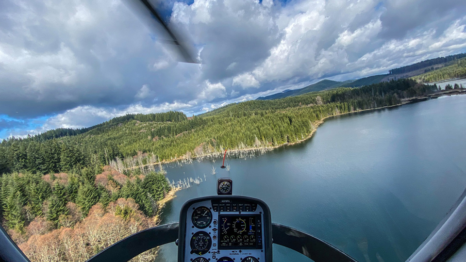 Pilot's view from Precision Aviation training helicopter cockpit