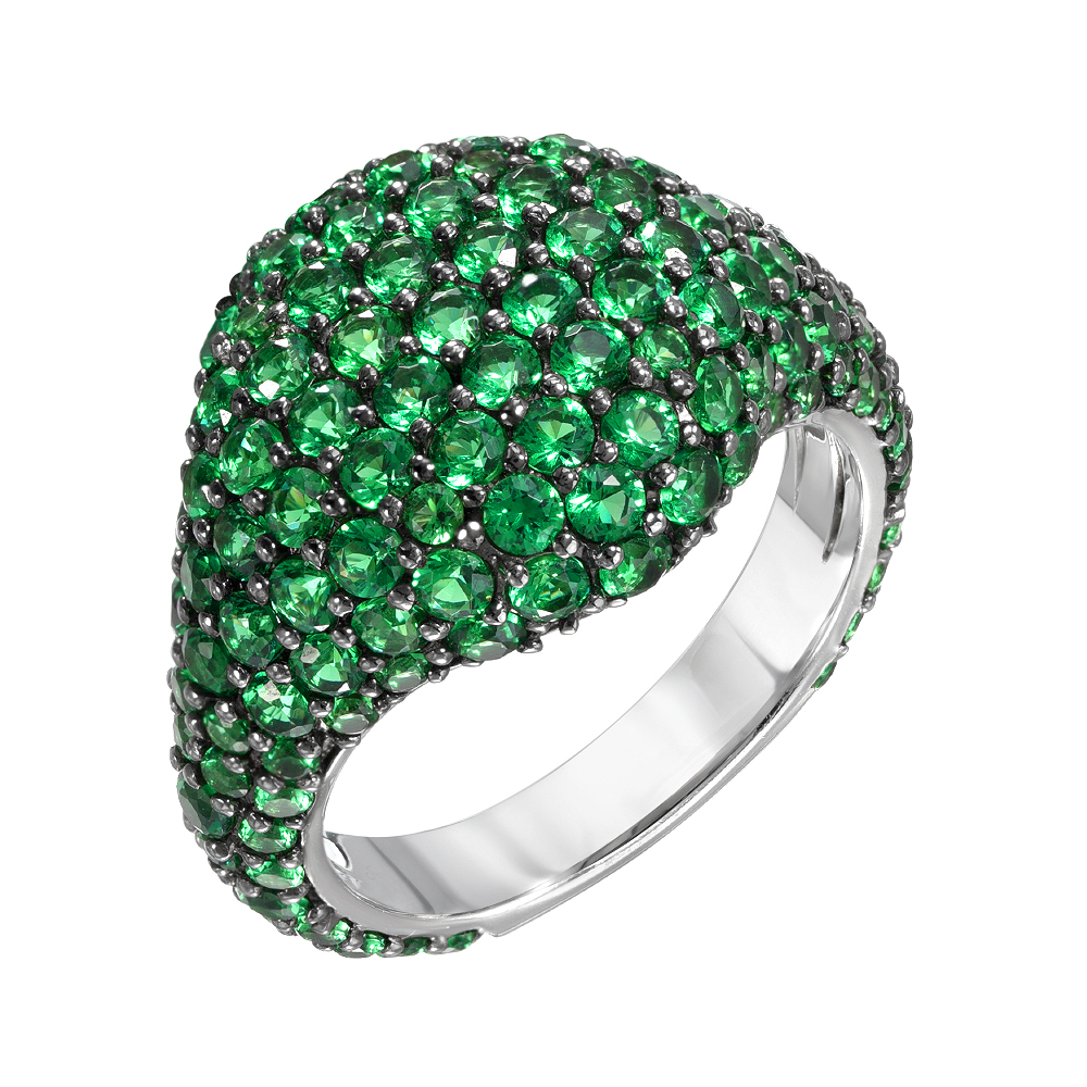 Pave Pinky Ring With Emeralds