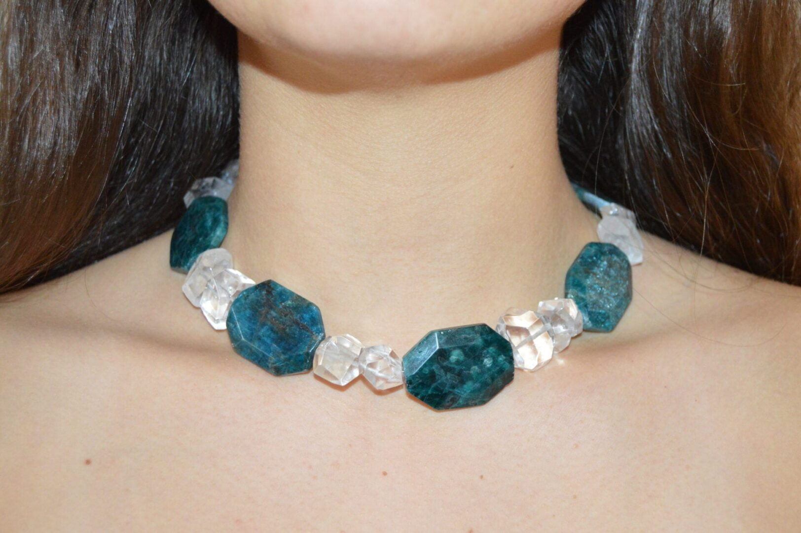 A blue and white stoned necklace