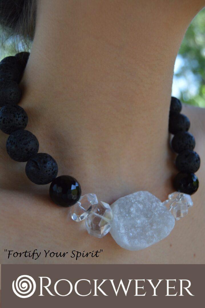 A Druzy Lava Girl necklace