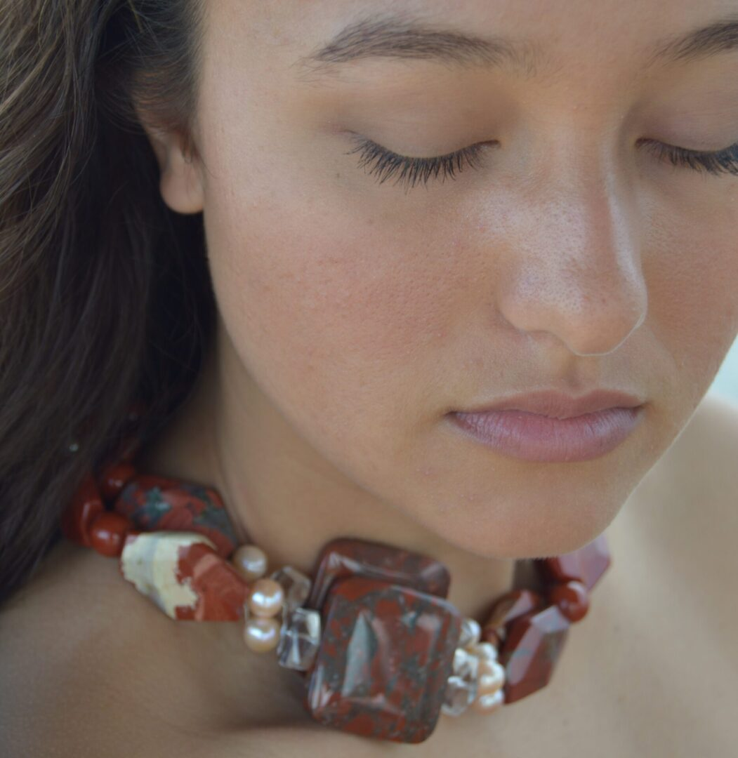 An angled shot for the Aussie Sunset necklace