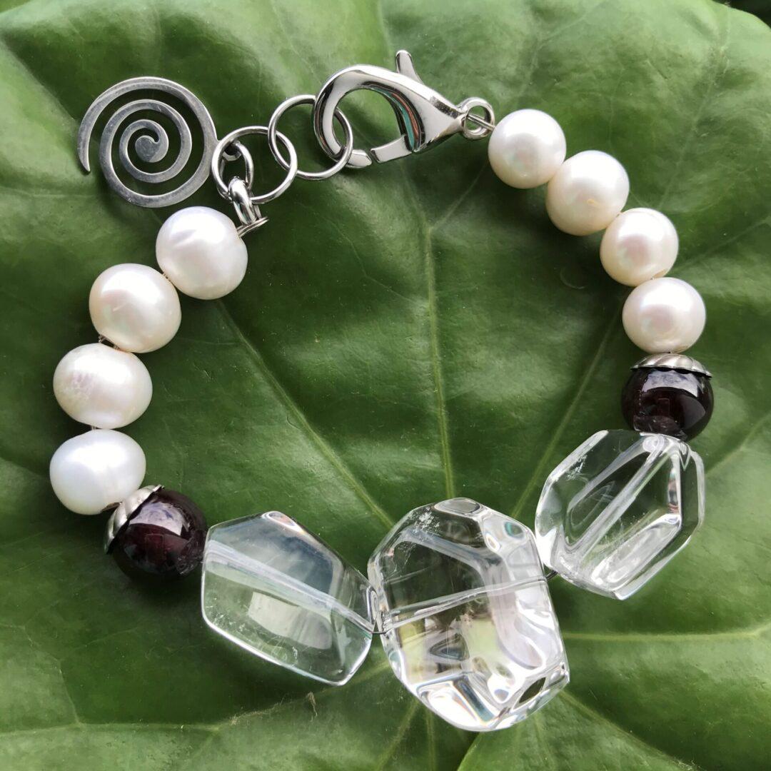 A Pearl and Garnet Body Guard Bracelet