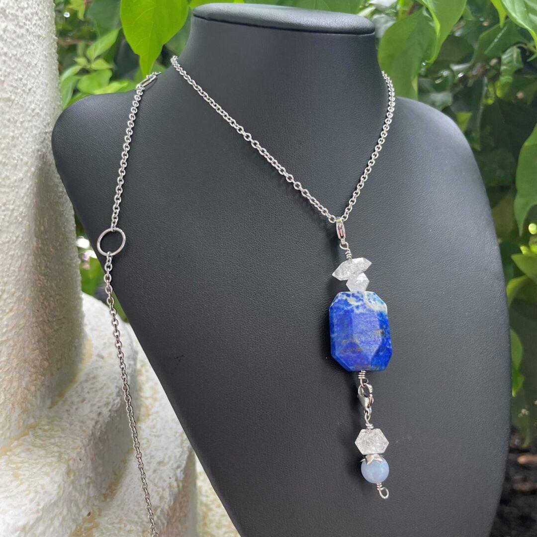 Lapis Lazuli Pendant Necklace with Herkimer Diamond & Angelite by Rockweyer pic 1