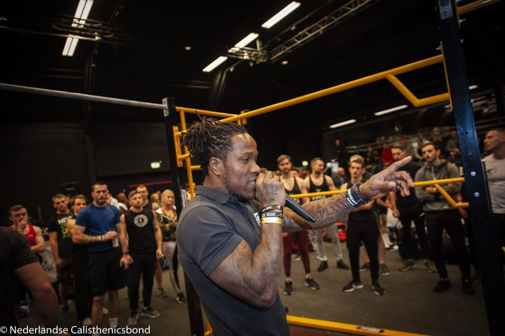 Rico Mesa at a calisthenics competition in The Netherlands.