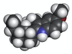 3D representation of the ibogaine molecule.